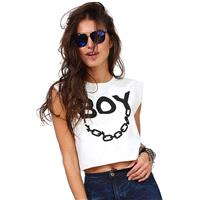 Oversized Classic Printed Scoop Neck Crop Top Sleeveless Top - Bonny YZOZO Boutique Store