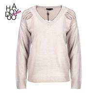 Vogue Torn Up Long Sleeves One Color Sweater - Bonny YZOZO Boutique Store