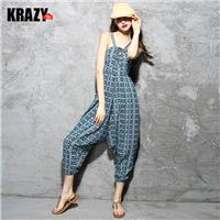Lively arts style pop print cross strap drop cotton, linen jumpsuit pants summer 7606 - Bonny YZOZO