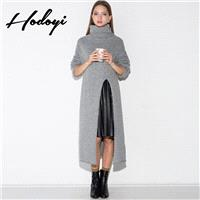 Split Slimming High Neck One Color Fall Over Knee Casual 9/10 Sleeves Sweater - Bonny YZOZO Boutique