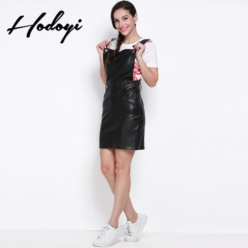My Stuff, School of 2017 summer sweet new style PU leather overalls slim splice dress - Bonny YZOZO