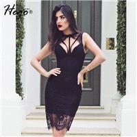 Sexy Open Back Seen Through Attractive Slimming Halter Summer Lace Formal Wear Dress - Bonny YZOZO B