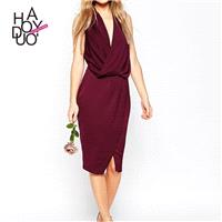 Vogue Low Cut Slimming V-neck Sleeveless Summer Dress Formal Wear - Bonny YZOZO Boutique Store