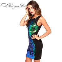 Night Club Sexy Split Front Slimming Sequined Sparkling Color Dress - Bonny YZOZO Boutique Store