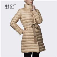2017 new simple ladies women long down jacket coat beige jacket - Bonny YZOZO Boutique Store