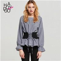 Sweet Attractive Slimming Curvy Lattice Fall Tie Frilled Blouse - Bonny YZOZO Boutique Store