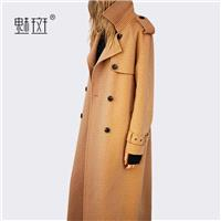 Oversized Column Double Breasted Wool Over Knee Wool Coat Overcoat - Bonny YZOZO Boutique Store