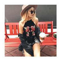 Must-have Open Back Embroidery Slimming Halter Scoop Neck Floral Rose Sleeveless Top Strappy Top Top