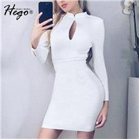 Vogue Sexy Seen Through Hollow Out Slimming Sheath Spring 9/10 Sleeves Formal Wear Dress - Bonny YZO