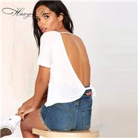 Oversized Sexy Open Back Scoop Neck White Short Sleeves T-shirt Top - Bonny YZOZO Boutique Store