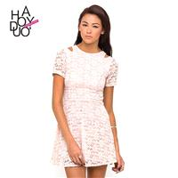 Simple Sweet Hollow Out Short Sleeves High Waisted Lace Summer Dress - Bonny YZOZO Boutique Store