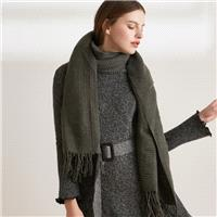 Vintage tassel solid colors for fall/winter warm, knitted wool shawl dual-purpose long scarf A004 -