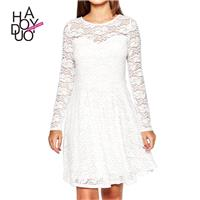 Ladies fall 2017 new stylish sweet lace a length pleated sleeves round neck dress - Bonny YZOZO Bout