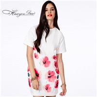 Scoop Neck Short Sleeves White Pink Dress Skirt - Bonny YZOZO Boutique Store