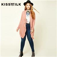 Plus size women's Cardigan Sweater coat with new style fashion leisure loose solid color for fall/wi