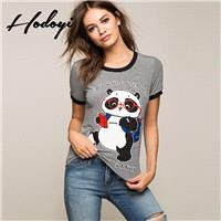 Must-have Student Style Slimming Scoop Neck Cat Bear Summer 9/10 Sleeves Stripped Essential T-shirt