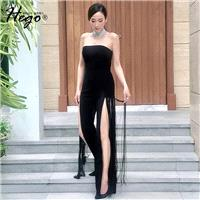 Strapless Vogue Sexy Attractive Fringe Split Front Slimming Off-the-Shoulder High Waisted It Girl Sp