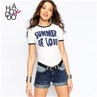 Vogue Printed Split Front Solid Color Slimming Alphabet Summer Short Sleeves T-shirt - Bonny YZOZO B