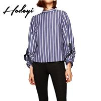 Oversized Vogue Solid Color Bow Hollow Out Fall 9/10 Sleeves Stripped Blouse - Bonny YZOZO Boutique