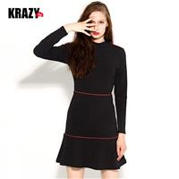 Elegant Solid Color Slimming Curvy Mermaid Cotton Flexible Dress Black Mini Dress - Bonny YZOZO Bout