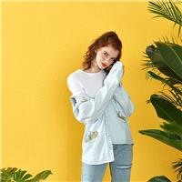Oversized Fresh Embroidery Cowboy Light Color 9/10 Sleeves Blouse Top Coat - Bonny YZOZO Boutique St