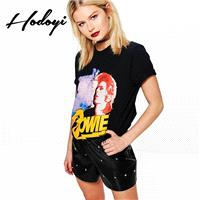 Oversized Vogue Simple Printed Scoop Neck Alphabet Face Summer Edgy Short Sleeves T-shirt - Bonny YZ