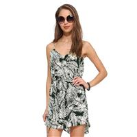 Sexy stylish v-neck leaf print asymmetric side-tie strap dress - Bonny YZOZO Boutique Store