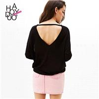 Oversized Vogue Sexy Hollow Out One Color Fall Sweater - Bonny YZOZO Boutique Store
