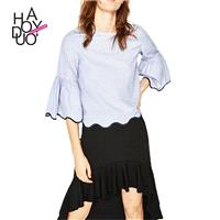 School Style Sweet Split Front Wave One Color Summer Frilled Blouse - Bonny YZOZO Boutique Store