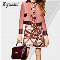 2017 new autumn fashion PU leather lapel long sleeve contrast color stitching single breasted jacket