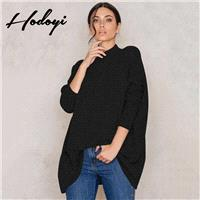 Oversized Vogue Simple High Neck 3/4 Sleeves Drop Shoulder One Color Spring Casual Sweater - Bonny Y