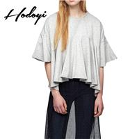 School Style Oversized Sweet Scoop Neck 1/2 Sleeves One Color Summer Frilled T-shirt - Bonny YZOZO B
