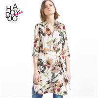 2017 new stylish country style floral print side slits in the summer shirt dress lace dresses - Bonn