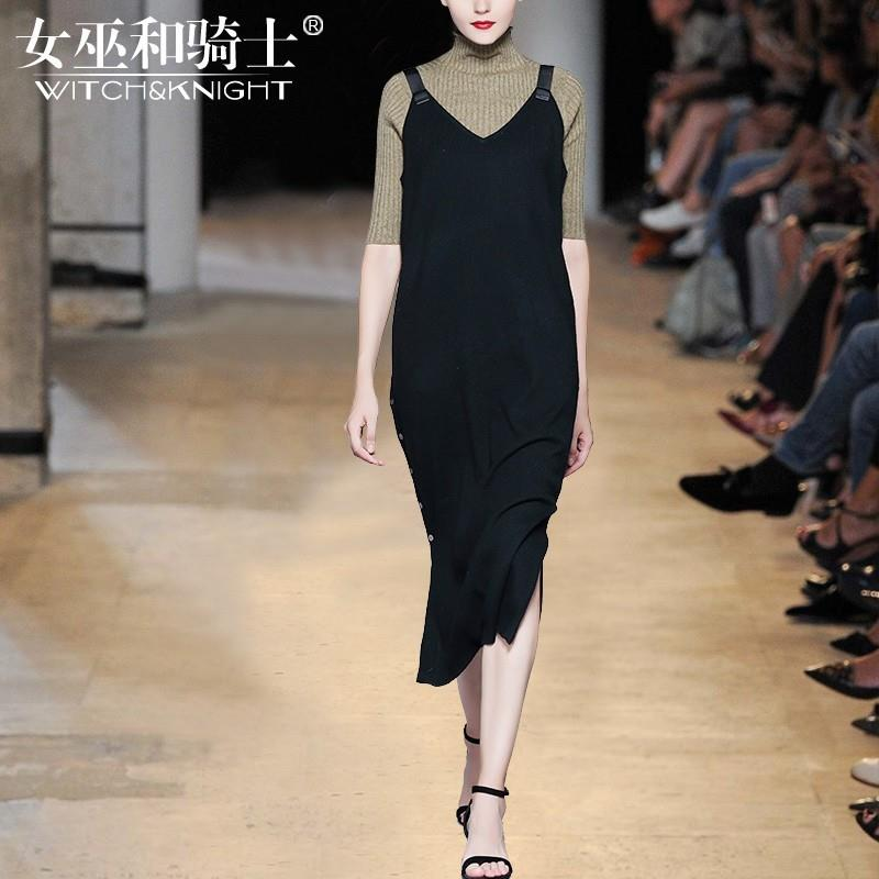 My Stuff, Vogue Attractive V-neck Sleeveless Jersey Wool Black Strappy Top Dress - Bonny YZOZO Bouti