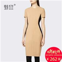 Office Wear Attractive Split Front Plus Size Scoop Neck Summer Short Sleeves Dress - Bonny YZOZO Bou