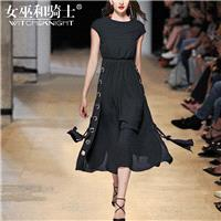 Vogue Attractive Slimming Scoop Neck Sleeveless Trail Dress Summer Black Dress - Bonny YZOZO Boutiqu