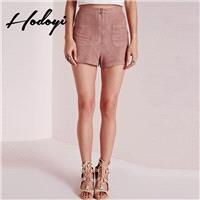 Summer 2017 new street zip placket suede hot pants casual pants shorts women - Bonny YZOZO Boutique