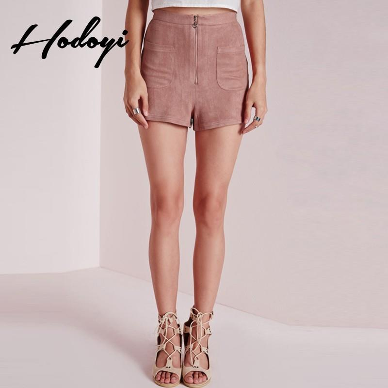 My Stuff, Summer 2017 new street zip placket suede hot pants casual pants shorts women - Bonny YZOZO