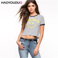 Vogue Simple Student Style Slimming Scoop Neck Black & White Fall Stripped Essential T-shirt - Bonny