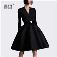 Attractive Slimming A-line V-neck High Waisted 9/10 Sleeves Black Mini Dress Dress - Bonny YZOZO Bou